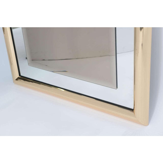 Sleek 1970s Faceted Brass Mirror with Center Bronze Mirror - Image 7 of 8