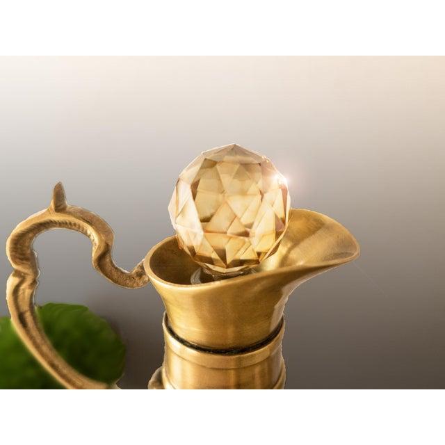 Vintage Brass & Iridescent Amber Crystal Decanter Set - Image 3 of 8