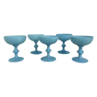 Vintage Blue Opaline Milk Glass Goblets - Set of 5