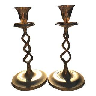 Vintage Brass Spiral Candlesticks - A Pair