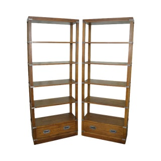 Bernhardt Campaign Style Open Bookcases Etageres - A Pair