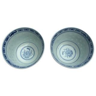 Vintage Blue & White Porcelain Cups - A Pair