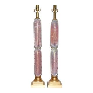 Pink Opaline Murano Column Lamps