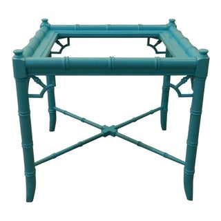 Vintage Turquoise Faux Bamboo End Table
