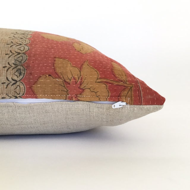 Image of Kantha Coral & Tan Block Print Pillow