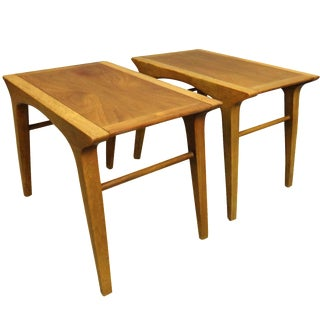 Drexel Profile Walnut Side Tables - A Pair