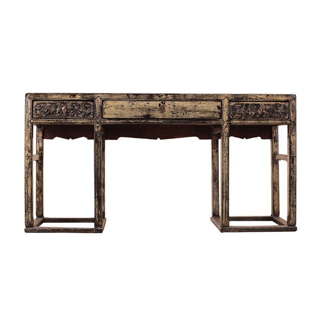 Chinese Yellow White Wood Altar Writing Desk - Image 1 of 5