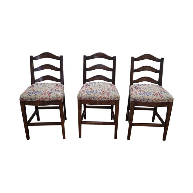 Guy Chaddock Ladder Back Bar Stools - Set of 3 - Image 1 of 10