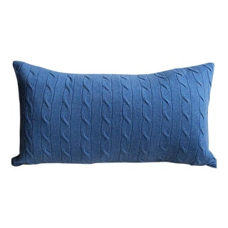 "Blue Cashmere Throw Pillow - 22"" x 13"""