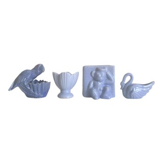 1930's Art Deco Niloak Periwinkle Blue Art Pottery - Set of 4