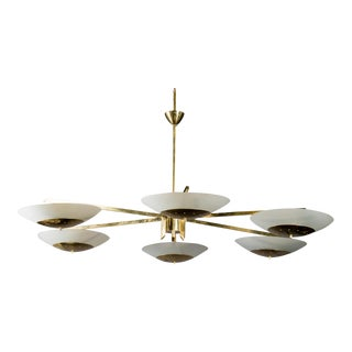 Monumental Italian Mid-Century Brass and White Glass Chandelier