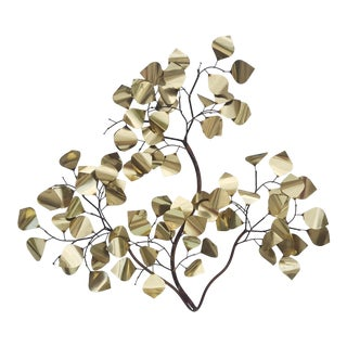 Vintage Copper and Metal Branch Leaf Wall Sculpture