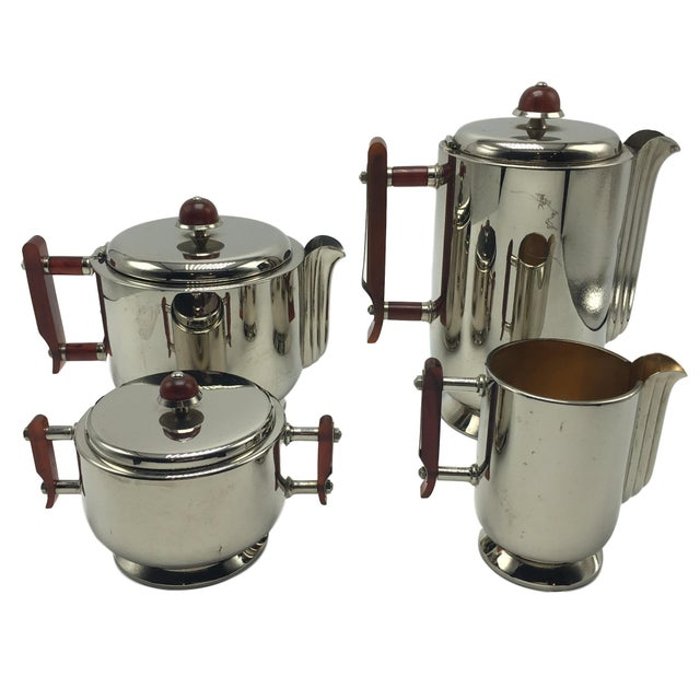 Image of Art Deco Silver-Plated Tea & Coffee Set Attributed to the Interior Designer of the Hindenburg