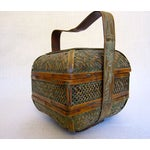 Image of Antique Chinese Woven Bamboo Wedding Basket