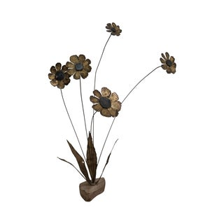 Brutalist Daisy Flower Metal Sculpture by Bovano