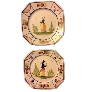 Quimper Luncheon Plates - A Pair