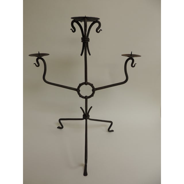 Vintage Rustic Iron Tripod Candelabra - Image 2 of 4