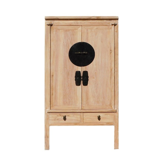 Image of Distressed Raw Wood Asian-Style Cabinet