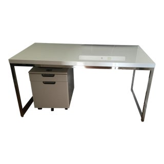 Pangea Home White Lacquer & Chrome Desk
