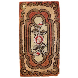 "1900s Antique Handmade American Hooked Rug - 1'6"" X 2'10"""