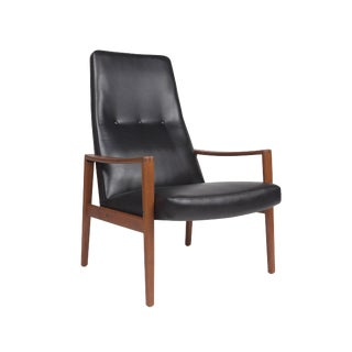 Ulferts Fabriker, Lounge Highback Chair Black Vinyl & Teak