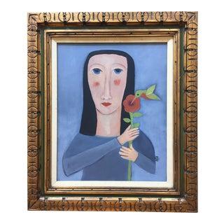 'Hummingbird' Contemporary Folk Painting