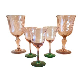 Art Deco Pink Glass Stemware - Set of 5