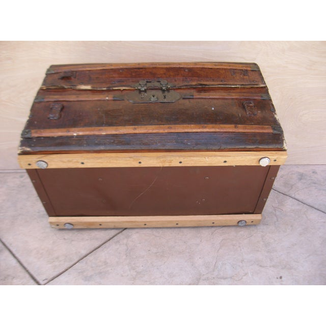 Antique Rustic Embossed Leather & Wood Trunk - Image 9 of 9