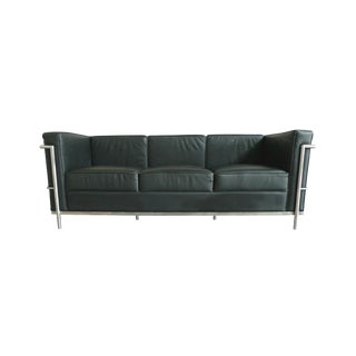 Le Corbusier Style Black Leather Sofa
