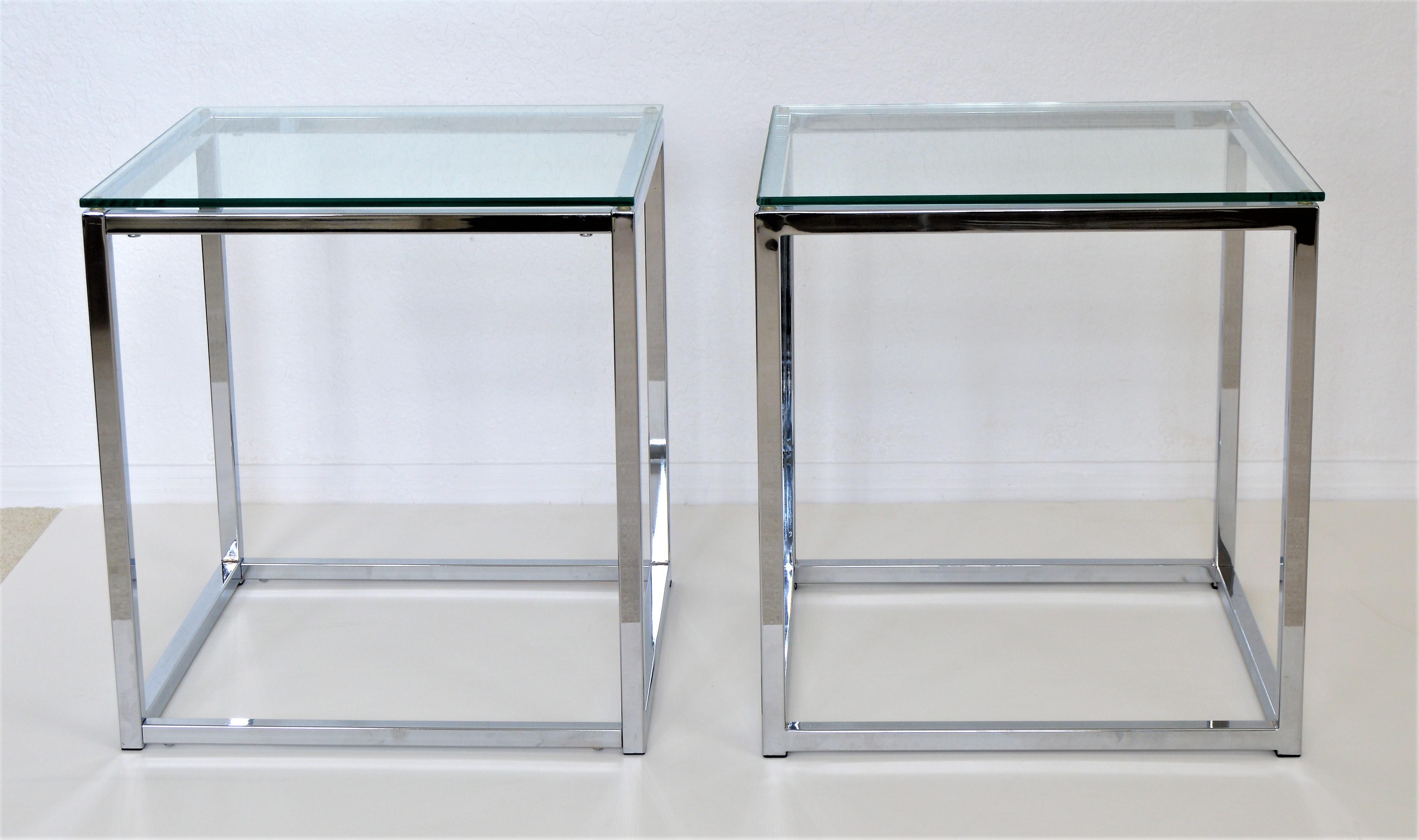 Milo Baughman Style Mid Century Modern Chrome U0026 Glass Cube Side Tables   A  Pair Millennial