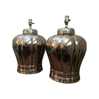 Vintage Silver Ginger Jar Table Lamps - A Pair