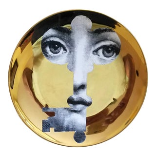 Fornasetti Gold Tema E Variazioni Plate, Number 47, the iconic image of Lina Cavalieri