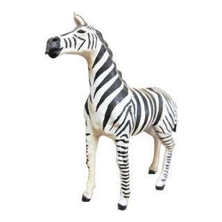 Mid-Century Leather Wrapped African Zebra Sculpture