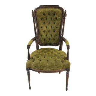 Olive Green Tufted Arm Chair