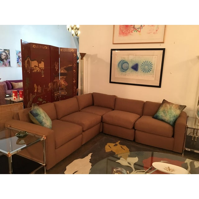Vintage Reupholstered Milo Baughman Five-Piece Sectional Sofa by Thayer Coggin - Image 5 of 7