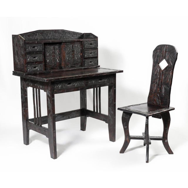 Carved Oriental Ladies Writing Desk & Chair - Image 2 of 6