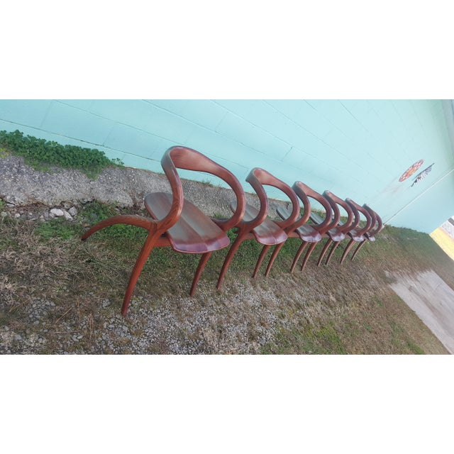 Vintage Solid Curved Cherry Wood Dining Chairs - Set of 6 - Image 8 of 9