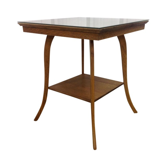 T h robsjohn gibbings klismos table chairish for Table th width ignored