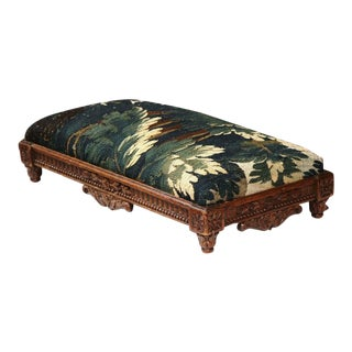 Mid-19th Century French Louis XVI Carved Footstool With Aubusson Tapestry