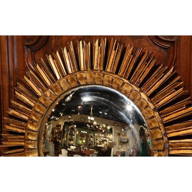 Mid-Century French Sunburst Mirror with Gilt Finish & Convex Mirror - Image 3 of 7