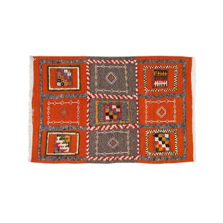 Orange & Gray Small Berber Rug - 2′1″ × 3′