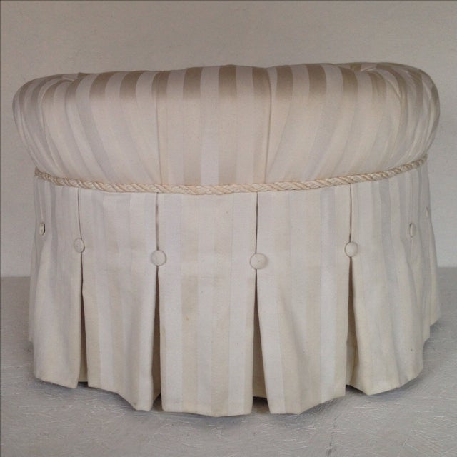 Tufted & Skirted Off White Ottoman - Image 2 of 5