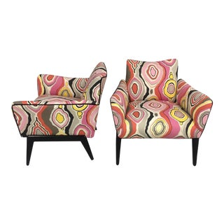 Italian Mid Century Lounge Chairs in the Style of Ico Parisi - a Pair