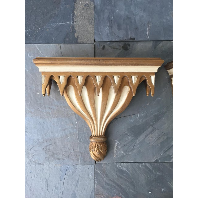 Gothic Style Decorative Cream and Gilt Painted Brackets - A Pair - Image 2 of 3