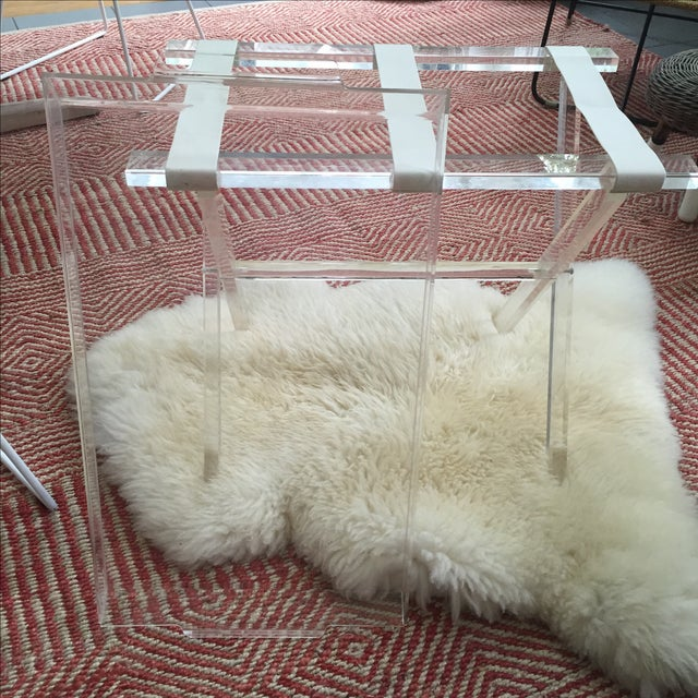 Scheibe Folding Lucite Luggage Rack With Tray - Image 6 of 7