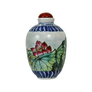 Porcelain Lotus & Koi Fish Snuff Bottle