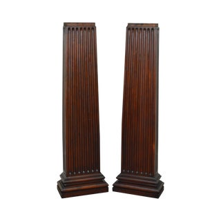 Antique Solid Mahogany Architectural Columns - A Pair