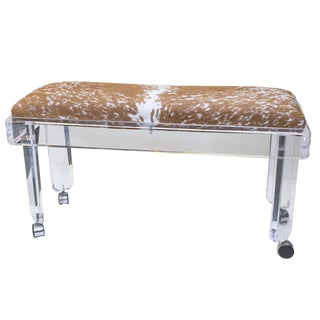 1970s Lucite Hide Bench