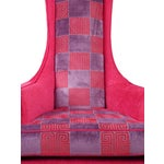 Image of Hot Pink Greek Key Highback Wing Chairs - Pair