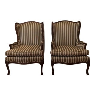 Pair Of Queen Anne Wingback Striped Upholstered Chairs
